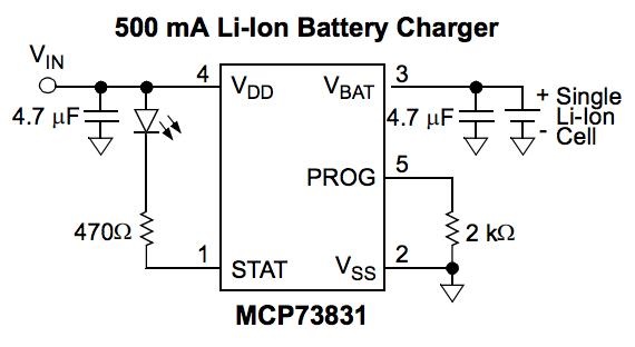MCP73831 circuit